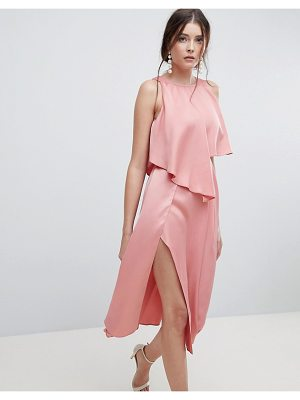 Asos crop top thigh split satin midi dress