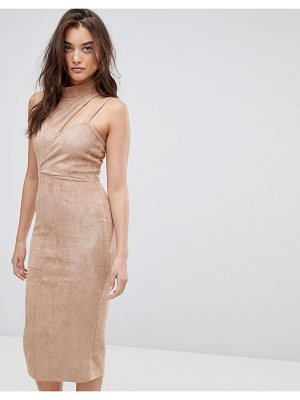 ASOS Asymmetric Cut Out Suede Midi Dress