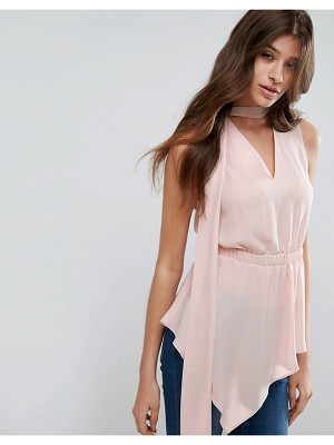 ASOS Asymmetric Sleeveless Top With Scarf Detail