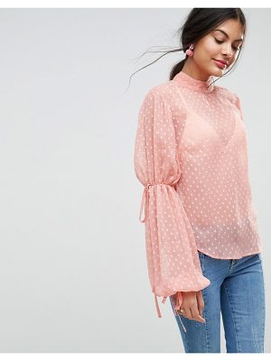 ASOS Balloon Sleeve Blouse In Dobby
