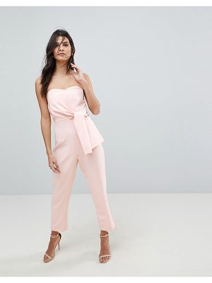 ASOS DESIGN asos bandeau jumpsuit with tie detail