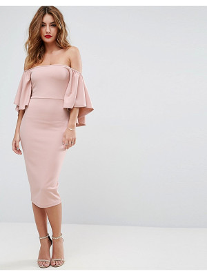 Asos Bardot Fluted Sleeve Midi Dress