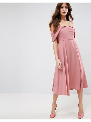 ASOS Bardot Off Shoulder Midi Prom Dress