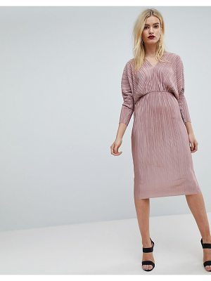 ASOS Batwing V-Neck Plisse Midi Dress