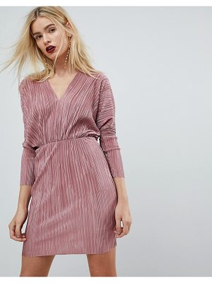 Asos Batwing V-Neck Plisse Mini Dress