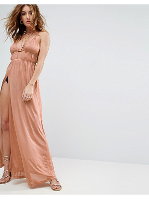Asos Beach Halter Slinky Maxi With Ruching