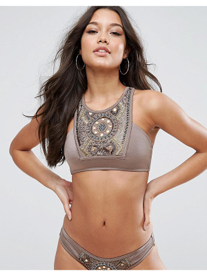 ASOS Bead Mirror Embellished Halter Bikini Top