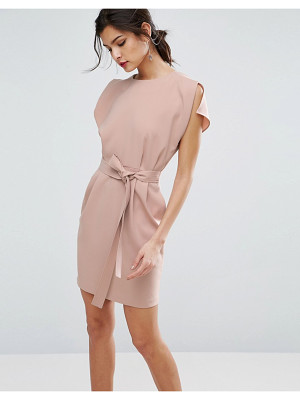 ASOS Belted Mini Dress With Split Cap Sleeve