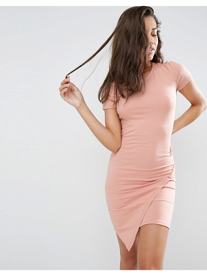 ASOS Bodycon Dress With Short Sleeves And Asymmetric Hem