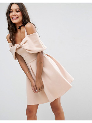 ASOS Bow Front Off The Shoulder Bardot Skater Mini Dress