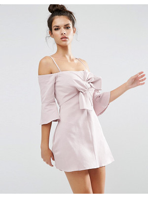 ASOS Bow Front Trumpet Sleeve Mini Dress