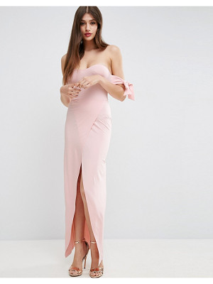 Asos Bow Off The Shoulder Maxi Dress With Wrap Front