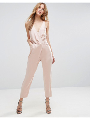 ASOS DESIGN asos cami wrap jumpsuit with peg leg