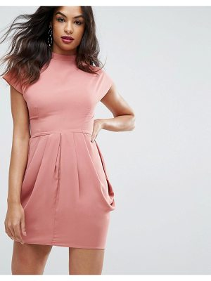 Asos Cap Sleeve High Neck Tulip Dress
