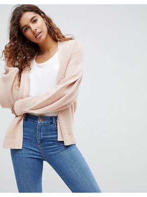 Asos ASOS Chunky Cardigan With Pleat Sleeve