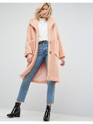 ASOS Coat In Luxe Teddy Borg