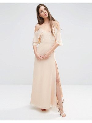 Asos Cold Shoulder Button Ruffle Maxi Dress
