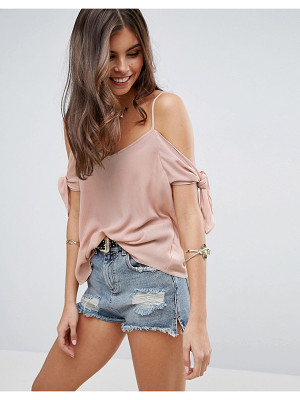 Asos Cold Shoulder Cami in Crinkle with Tie Sleeve