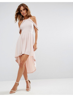 ASOS Cold Shoulder Dip Back Midi Skater Dress