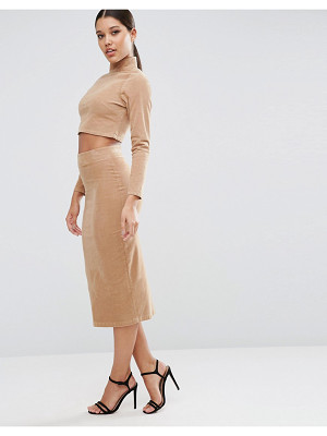 Asos Cord Tube Midi Skirt in Nude Co-ord
