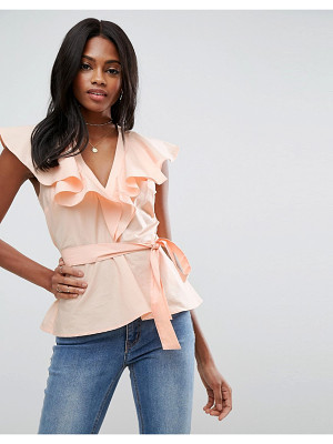 ASOS Cotton Blouse With Ruffle Front & Tie Waist