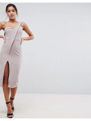 ASOS DESIGN asos crepe tux one shoulder midi dress