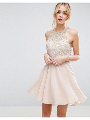 Asos Crop Top Embellished Mini Skater Dress