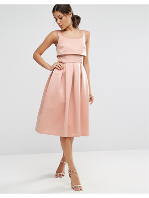 ASOS Crop Top Prom Dress With Button Detail