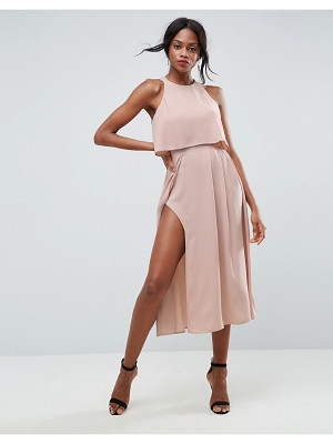 ASOS Crop Top Thigh Split Midi Dress