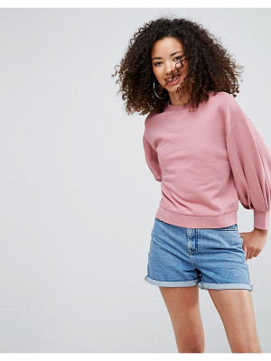 ASOS Cropped Sweatshirt With Pretty Bell Sleeve