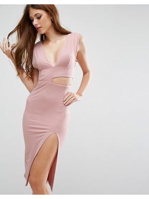 ASOS Cut Out Asymmetric Plunge Midi Dress