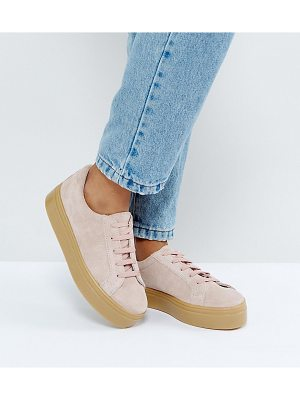 Asos DAY LIGHT Wide Fit Suede Flatform Lace Up Sneakers