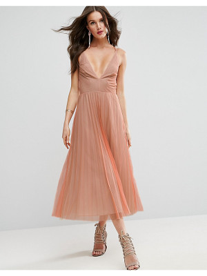 ASOS Deep Plunge Cami Mesh Pleated Midi Dress