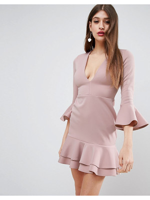 Asos Deep Plunge Double Ruffle Pephem Mini Dress