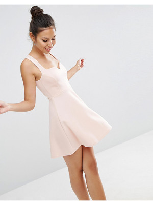 Asos Deep Plunge Scuba Skater Sweetheart Mini Dress