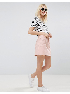 Asos Denim Low Rise Skirt in Washed Pink