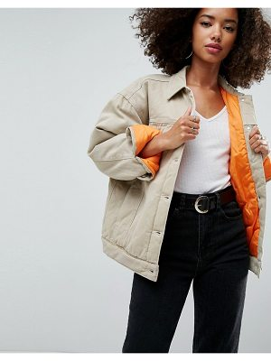 Asos Denim Wadded Jacket in Stone