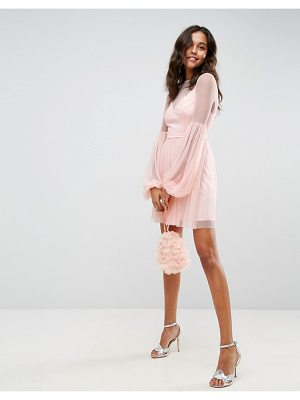ASOS DESIGN asos dobby mesh balloon sleeve mini dress