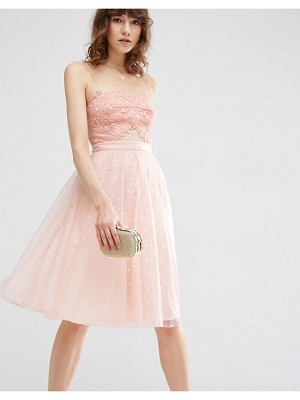 ASOS Dobby Mesh Midi Lace Skater Dress