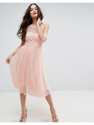 Asos Dobby Mesh One Shoulder Midi Prom Dress