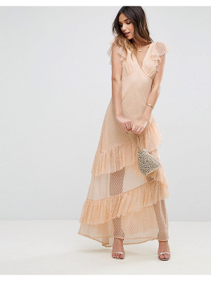 ASOS Dobby Mesh Ruffle Cut-About Maxi Dress