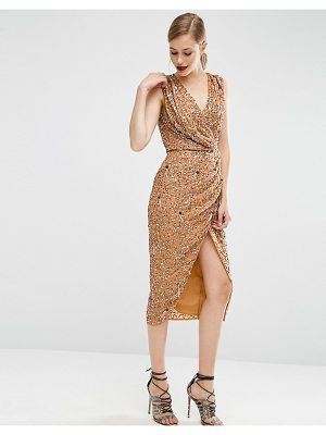 ASOS Drape Front Midi In Mesh Sequin Dress