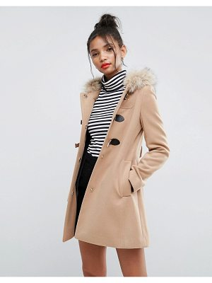 Asos ASOS Duffle Coat with Faux Fur Hood