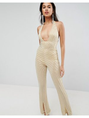 ASOS Embellished Jumpsuit With Halter And Plunge Detail