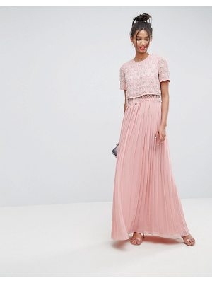 ASOS Embellished Short Sleeve Pleated Maxi Dress