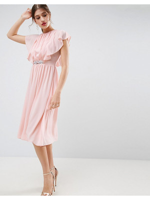 ASOS Embellished Waist Flutter Sleeve Midi Dress