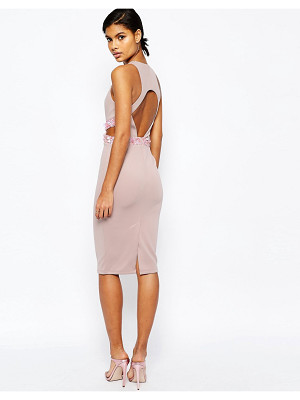 ASOS Embellished Waist Open Back Scuba Midi Bodycon Dress