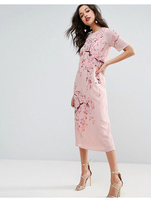 Asos Embroidered Enchanted Midi Shift Dress