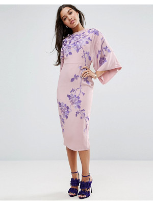 ASOS Embroidered Kimono Midi Dress