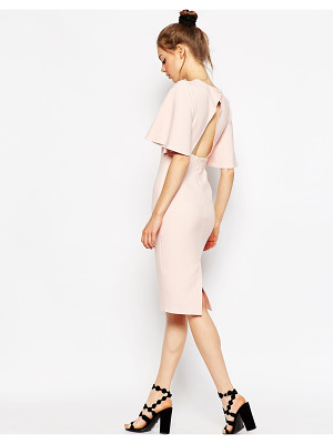 Asos Exaggerated Angel Sleeve Pencil Dress with Open Back